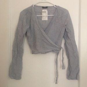 Brandy Melville blue white stripe wrap crop blouse